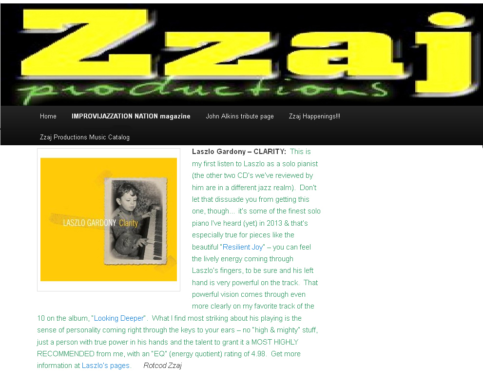 Laszlo Gardony Jazz Jazz Pianist Composer Reviews